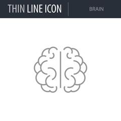 Symbol of Brain. Thin line Icon of Medicine Part One. Stroke Pictogram Graphic for Web Design. Quality Outline Vector Symbol Concept. Premium Mono Linear Beautiful Plain Laconic Logo