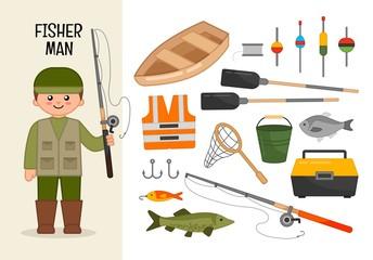 Vector character fisherman. Illustrations of fisherman equipment. Set of cartoon professions.