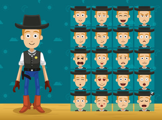 Toy Character Set Cowboy Cartoon Emoticons Vector-01