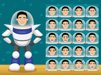 Toy Character Set Spaceman Cartoon Emoticons Vector-01
