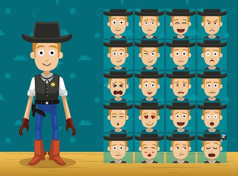 Toy Character Set Cowboy Cartoon Emoticons Vector-01