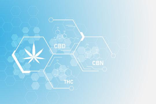 molecular structure chemistry formula tetrahydrocannabinol medical cannabis pattern vector eps10