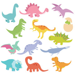 Dinosaur hand drawn collection set with cute drawing style