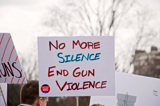 Boston, MA/America - March 24th, 2018: March for Our Lives. Gun Control, Gun Reform. Demonstration. Resistance gathering and protest. Many unique protest signs. Anti gun violence.