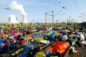 Protest against the climate change near Garzweiler open cast brown coal mine near Rommerskirchen