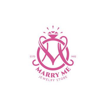 Wedding ring monogram M