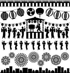 夏祭り 盆踊り 花火大会 広告イラスト