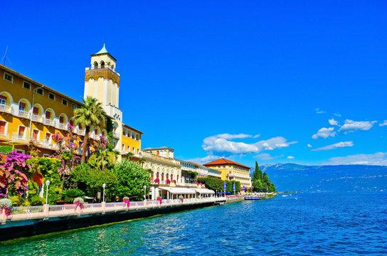 View of Gardone Riviera at the lakeside of Lake Garda in summer.
