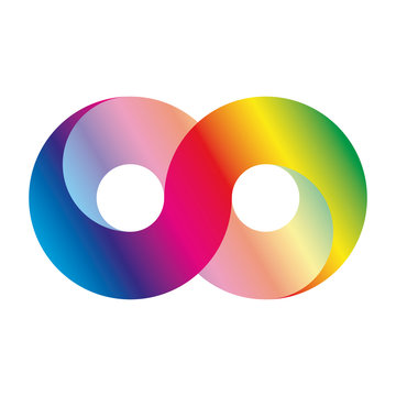 Infinity symbol icon, aka lemniscate, looks like sideways number eight. Mathematic symbol representing the concept of infinite figure. Rainbow light spectrum gradient vector illustration