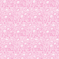 Vector light pink hand drawn happy smiling flowers repeat pattern with bees and birds. Suitable for gift wrap, textile and wallpaper.