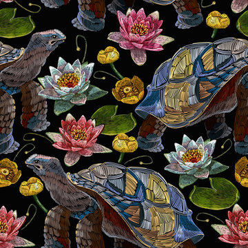 Sea turtle swims and water lilies seamless pattern. Embroidery tropical water art. Fashionable clothes, t-shirt design