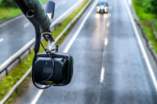 average speed traffic monitor camera over UK Motorway