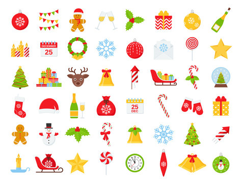 Christmas icons. Vector. Winter icon set. Christmas decorations in flat design isolated on white background. Cartoon colorful illustration. Collection holiday red green symbols.