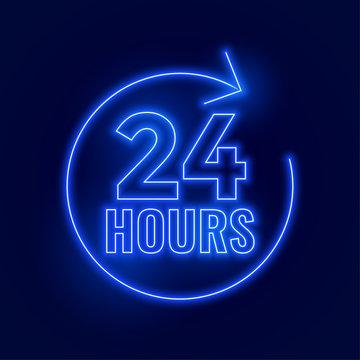 neon 24 hours open signboard design