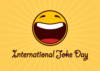 International Joke Day vector. Cheerful yellow smiley icon. Happy Yellow Face. Laughing emoticon symbol. International Joke Day Poster, July 1