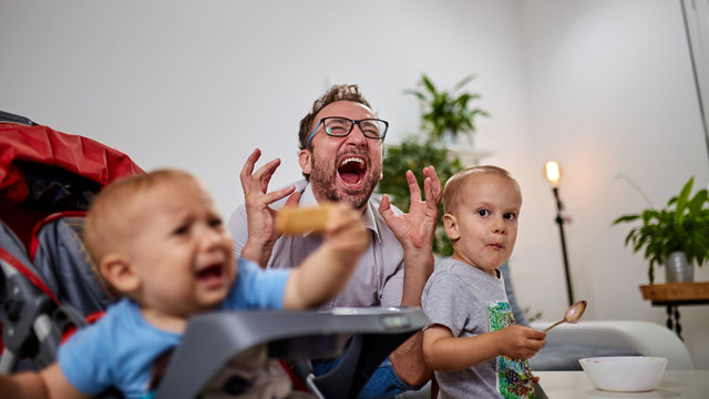Single dad going nuts at home with two boys.