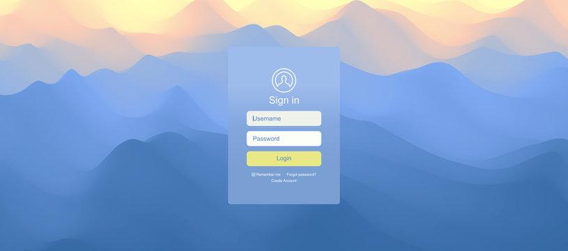 Landscape before sunset. Sunrise. Login user interface. Modern screen design for mobile app and web design. Website element. Vector illustration.