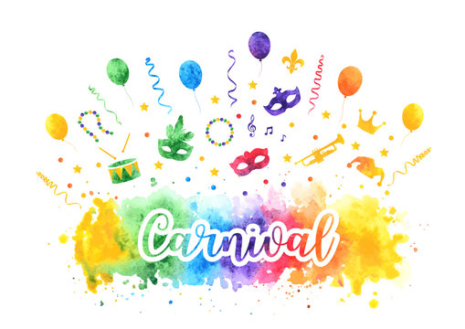 Mardi Gras carnival traditional symbols collection, carnival masks, party decorations. Watercolor splash silhouettes elements for cards, banner. Vector illustration isolated on white background