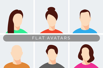Flat Cartoon Avatars Collection, Business Man Woman People Avatar, User Profile Picture, Female Male Character