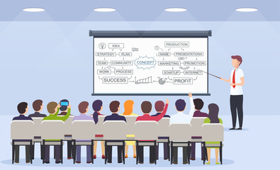 Business person teacher teaches a lecture for business strategy, e-commerce and marketing to a seated audience. Business presentation, motivation for crowd of people.