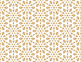 Fotorolgordijn Geometrisch Abstract geometric pattern with lines, snowflakes. A seamless vector background. White and gold texture. Graphic modern pattern