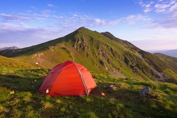 Wild camping in Carpathians. Muntii Rodnei National Park, Romania