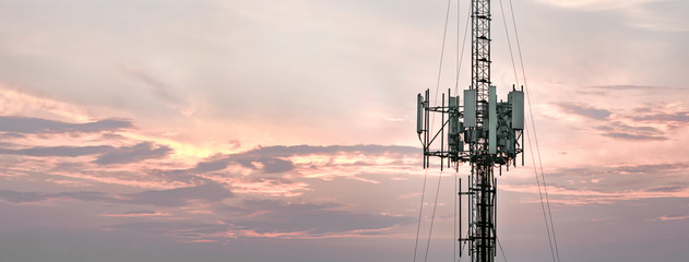 Telecommunication towers with a background atmosphere, evening sky, landscape horizontal