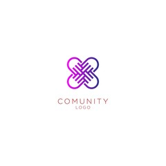 Four hands together icon logo vector graphic design. / four hand circle community logo vector
