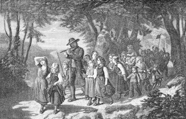 Rural May Day festive procession in the woods of children accompanied by the music of a pied-piper.