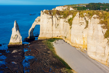Cliffs and Coastline of Etretat Normandy France