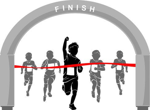 Kids Marathon Boy Winning Race