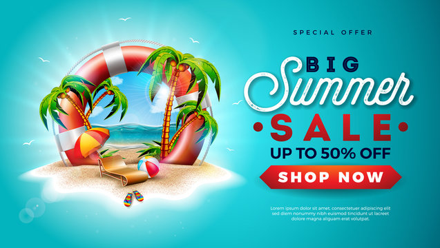 Summer Sale Design with Lifebelt and Exotic Palm Trees on Tropical Island Background. Vector Special Offer Illustration with Flower, Beach Ball, Sunshade and Blue Ocean Landscape for Coupon, Voucher