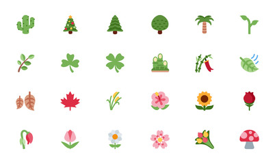 Nature, Floral icons, trees, flowers, leaves vector illustration flat style cartoon symbols, emojis, emoticons set, collection.
