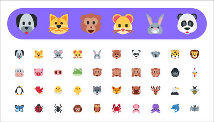 Set of animal faces, face emojis, stickers, emoticons. Vector illustration symbol, flat style icons.