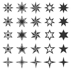 Star icon set back and white