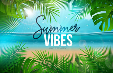Wall Murals Green Vector Summer Vibes Illustration with Palm Leaves and Typography Letter on Blue Ocean Landscape Background. Summer Vacation Holiday Design for Banner, Flyer, Invitation, Brochure, Party Poster or