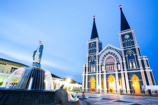 Picturesque Roman Catholic Diocese of Chanthaburi at twilight.