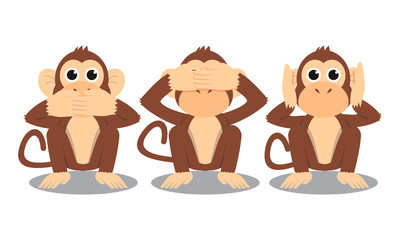 3 monkeys cartoon close mouth eye and ear vector illustration isolated