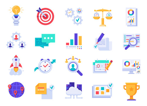Business icons. Company startup, corporate goals and brand vision. Money management business marketing app diagram software signs. Flat vector isolated symbols set