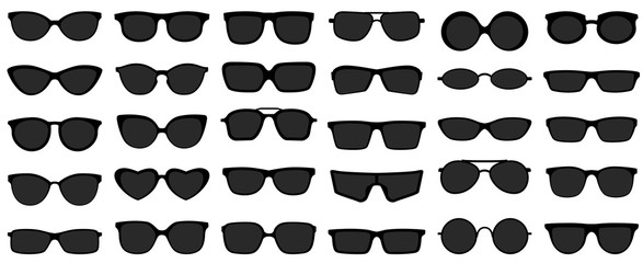 Sunglasses icons. Black sunglass, mens glasses silhouette and retro eyewear icon. Polarized geek glasses, hipster sun lens ocular. Isolated symbols vector set