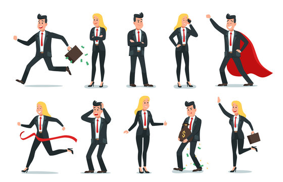 Businessman and businesswoman characters. Office team worker, success business people and employee workers. Nervous or worried executive boss. Cartoon isolated vector illustration icons set