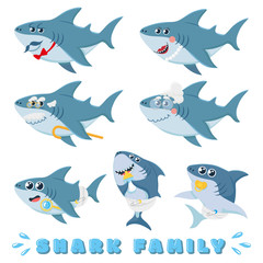 Cartoon sharks family. Newborn baby shark, comic marine father and cheerful mother sharks characters. Ocean fish family, sea underwater sharks predator. Isolated vector illustration icons set