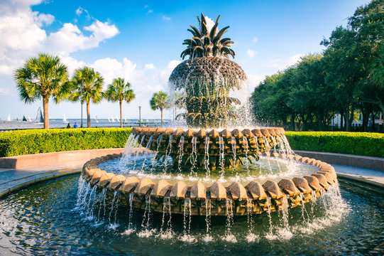 Scenic view of water streaming from a fountain in the shape of a pineapple on a blue sky afternoon at the waterfront in Charleston, South Carolina, USA