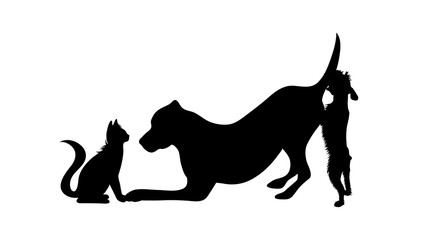 Vector silhouette of group of dogs with cat. Symbol of animal friends on white background. Funny activities. Wall mural