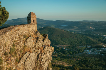Watchtower made of bricks over cliff in Marvao