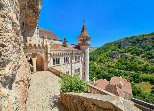 Landscape view from the top entrance of Saint Sauveur and Blessed Virgin Mary sanctuary and chapels in the medieval french village of Rocamadour, Lot, Quercy, France. UNESCO world heritage site.