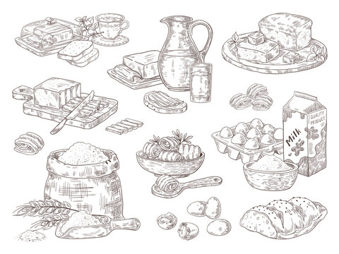 Hand drawn bakery goods. Butter milk eggs and flour culinary ingredients, butter and bread sandwiches on dish. Vector isolated sketch fats set