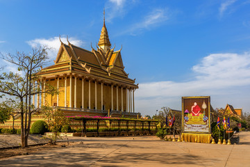 OUDONG, CAMBODIA  - FEBRUARY 13, 2019: Oudong Buddhist Monastery in Kampong Speu Province, Cambodia