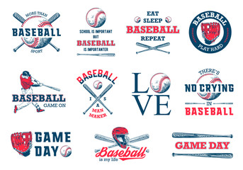Set of 11 engraved style illustrations for posters, decoration, t-shirt design. Hand drawn baseball sketches with motivational typography isolated on white background. Detailed vintage drawing logo.