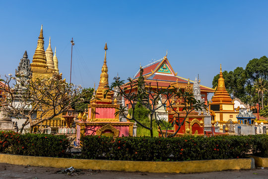 Temple complex in Angkor Ban Village on the banks of the Mekong River, Battambang Province, Cambodia (Khmer).
